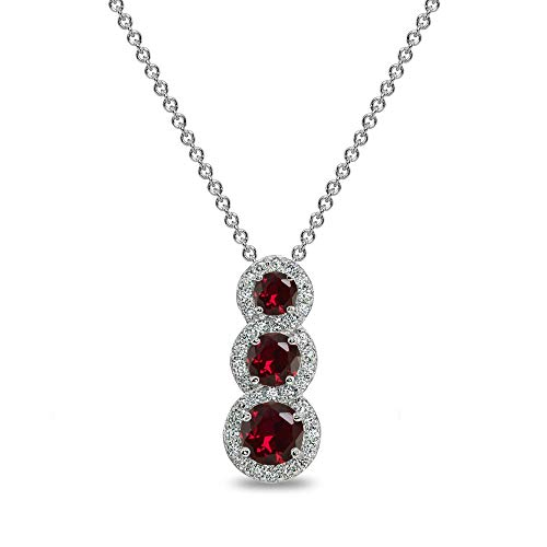 Sterling Silver Created Ruby Journey Halo Vertical Three-Stone Slide -