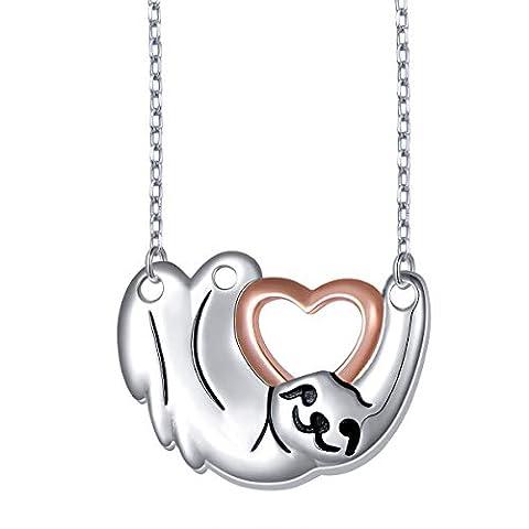925 Sterling Silver Cute Animal Sloth Heart Earrings Bracelet - Sale: $21.12 USD