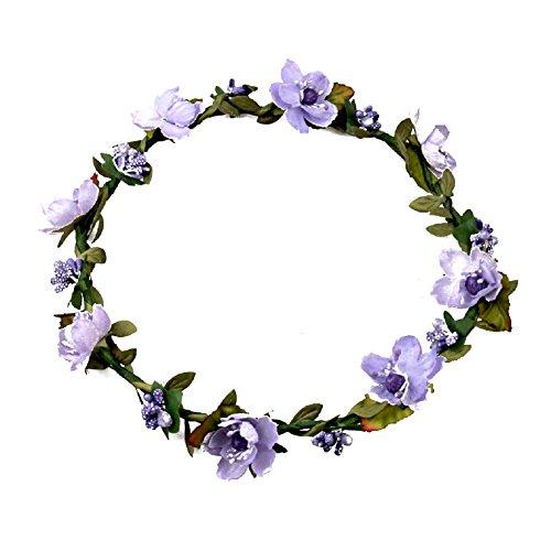 Floral Fall Boho Headband Flower Crown Festival Wedding Beach Hair Wreath F-01 (Purple) -