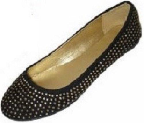 Shoes8teen Skor 18 Womens Faux Mocka Strass Ballerina Balett Lägenheter Skor 4021 Svart / Guld