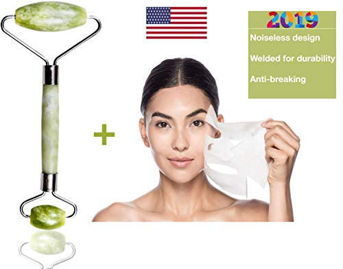 Jade Roller For Face & Compressed Mask Sheets (5pcs) By U-HAF USA 100% Guaranteed Original & Natural Himalayan Jade Anti-wrinkles, Anti-puffing & Lymphatic Drainage. Noiseless Rolling & Sturdy Frame