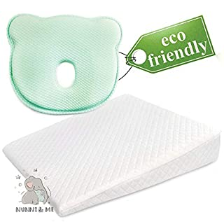 Nunni&Me 2 Pillows Set, Universal Baby Crib Wedge Pillow for Anti-Reflux, Nursery Pillow, with Removable 100% Waterproof Cotton Cover, BPA-Free Memory Foam, for Better Baby Sleep