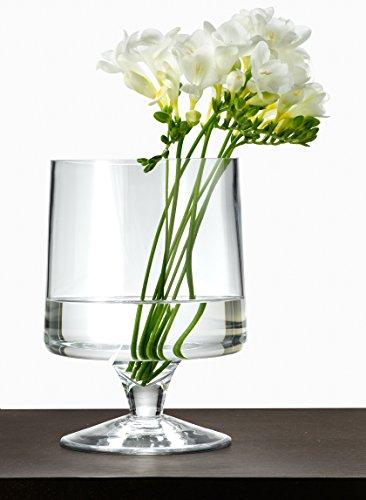 Serene Spaces Living Clear Glass Pedestal Vase, Size - 6in Diameter x 9in - Pedestal Glass Vases
