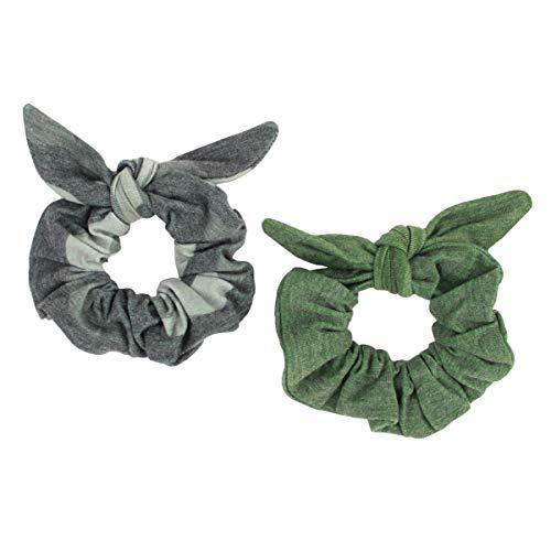 Maven Thread 2 Count Hair Scrunchies Elastic Hair Bands Scrunchy Hair Ties Accessories for Women or Girls Camo Green - HUSTLE Set