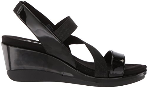 Anne Klein Mujeres Peppina Wedge Sandal Black Synthetic