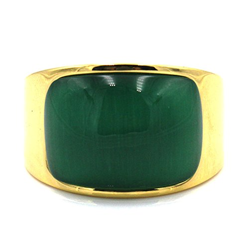 LILILEO Jewelry Stainless Steel Gold Plating Men's Rings Arc Green Cat's Eye ()