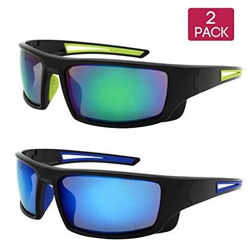 Edge I-Wear 2 Pack Sports Safety Sunglasses Green Lens Blue Lens ANSI Z87 570100/REV-SET5(gn/bu) -