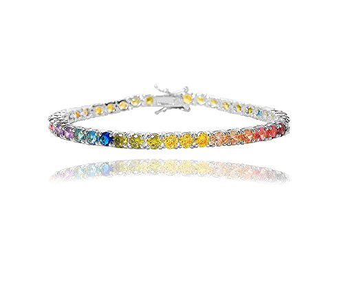 NYC Sterling Women's 4MM Round Rainbow Cubic Zirconia Tennis Bracelet, 7.25 Inches (Silver)