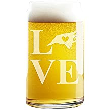 Love State North Carolina Engraved 16-ounce Craft Beer Can Glass - 4pcs
