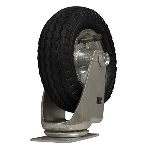 CASTER 6 INCH AIR-RIDE SWIVEL 375 lb Pneumatic Rubber, standard plate 1-3/4