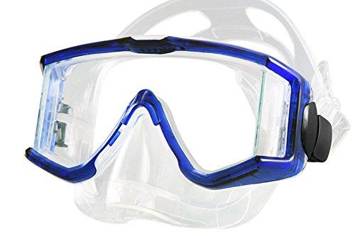 Tilos Panoramic Tru-View 3 Lens Mask for Scuba and Snorkeling, Transparent Blue