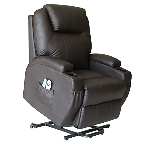 Action Club Deluxe Wall Hugger Power Lift Heated Vibrating Massage Recliner Chair with Wheels – Brown