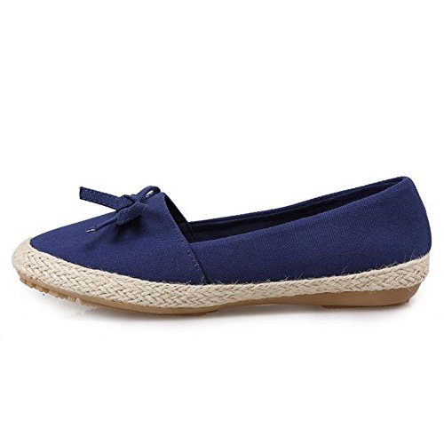 Tie Flat Casual KemeKiss on Bow Shoes Slip Women Blue Spring wnPBAEqI0