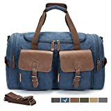 WULFUL Canvas Leather Travel Duffel Bag Oversized Luggage Overnight Bag Shoulder Tote Weekender Bag