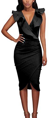 Verano Nuevo Mujeres Moda Cuello V Profundo Sin Mangas Vestido Chic Lado de la Hoja de Lotus Lápiz Vestido Sexy Bodycon Irregular Midi Vestidos de Partido Cóctel Fiesta Negro