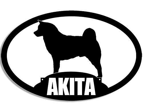 MAGNET 3x5 inch Oval Akita Silhouette Sticker (Dog Breed) Magnetic vinyl bumper sticker sticks to any metal fridge, car, signs ()