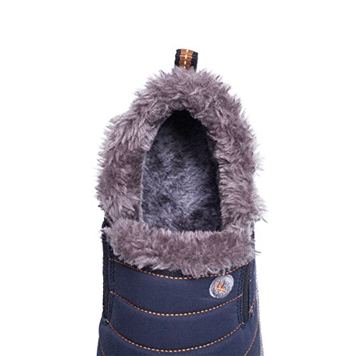 Santimon Warm Snow Boots Men Women Slip On Fur Lining Boots Waterproof Thickening Winter Shoes Anti-Slip Outdoor Bootie Blue 08nhCUR