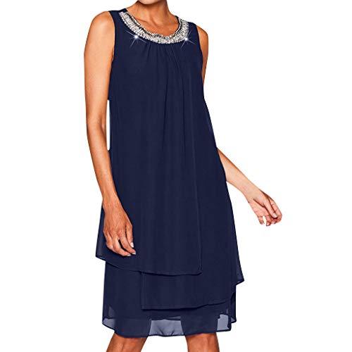 Sttech1 Women's Chiffon Sequined Sleeveless Round Neck Dress Swing Party Dress Dark ()