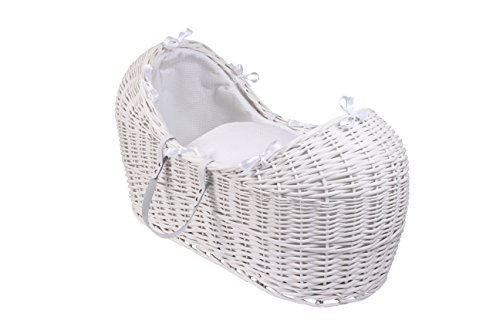 Clair de Lune Waffle White Wicker Noah Pod Moses Basket & Rocking Stand (White)