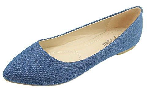Bella Marie Angie-53 Blue Denim Mujeres Classic Pointy Toe Ballet Slip En Los Planos (9)