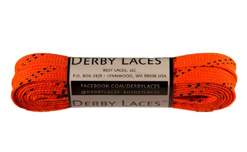 Derby Laces Orange 72 Inch Waxed Skate Lace for Roller Derby, Hockey and Ice Skates, and Boots