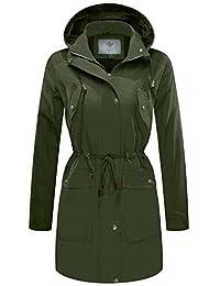 WenVen Women's Versatile Militray Anorak Hooded Jacket Trench Coat