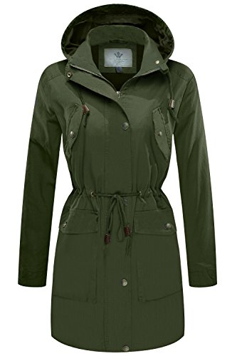 WenVen Women's Military Washed Twill Hooded Utility Anorak Jacket Outers(Army ()