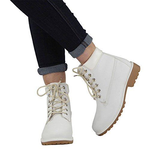 New Womens Ladies Lace Up Military Worker Low Flat Heel Ankle Boots Shoes Size 3-8 White VAmlhU0X