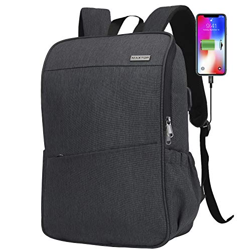 Laptop Backpack for Men Women College Bookbag Business Travel Backpack Water Resistant Computer Backpack with USB Charging Port Fits 15.6 Inch Laptop from MAXTOP