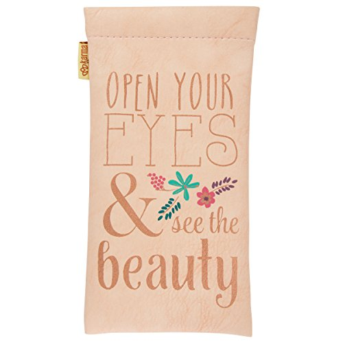 Open Your Eyes & See the Beauty Rose Gold 7 x 3.5 Inch Vegan Leather Eyeglasses Case by Karma Gifts