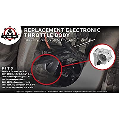 Electronic Throttle Body - Fits 2.0L and 2.4L Chrysler 200, Sebring, Dodge Avenger, Caliber, Journey, Jeep Compass and Patriot - Replaces 04891735AC, 977025, 4891735AD, 4891735AC - Years 2007-2020: Automotive