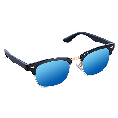 SEEKWAY Kid's Polarized Sunglasses Metal Frame Children Age 3-10 SKM3021 (Mirrored Lens Available) (Black, Blue Iced Mirrored - Glasses Best For Shaped Face Heart A