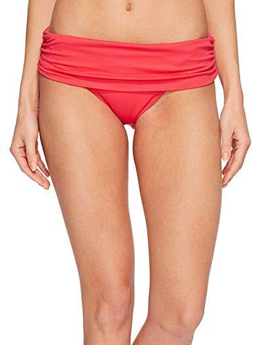 LAUREN RALPH LAUREN Women's Beach Club Solids Wide Shirred Banded Hipster Bottom Red 6
