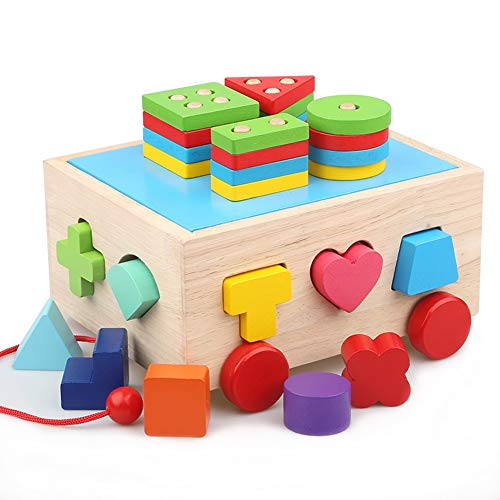 Lewo Wooden Puzzle Shapes Sorter Stacking Games Classic Push Pull Truck Toy Educational Preschool Shape Color Recognition Geometric Puzzle Games for - Sorting Shape Bus