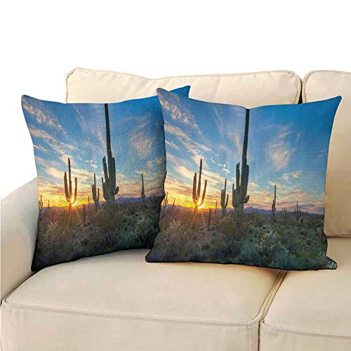 QIAOQIAOLO Saguaro Cactus Decor Pillowcase Personalized Sun is Setting Between Cactus Spines Magical Noon Landscape Wild Design (2 PCS) Double-Sided Printing 18×18 Inch Green Blue