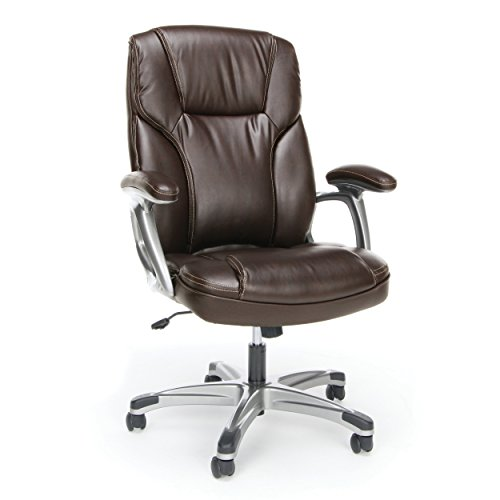 - Essentials High-Back Leather Executive Office/Computer Chair with Arms - Ergonomic Swivel Chair (ESS-6030-BRN)