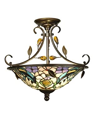 Dale Tiffany TH90212 Crystal Peony Semi-Flush Mount Light, Antique Golden Sand and Art Glass Shade