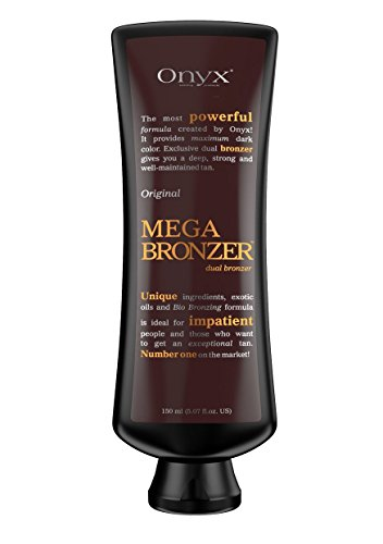 Onyx MEGA BRONZER Original Dual Bronzer Bottle, Tanning Lotion with Caffeine and Copper