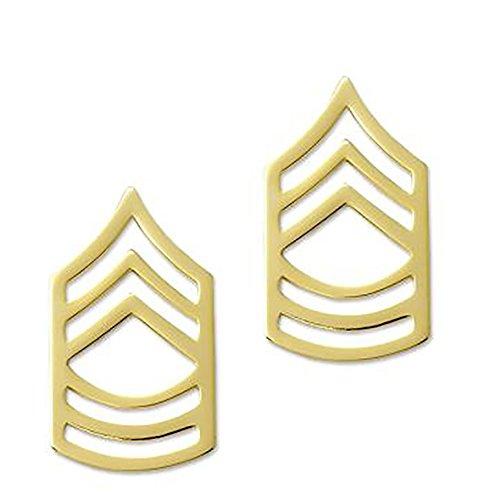 Military Rank Sergeant (US Army Brite Metal Pin-On Rank - Master Sergeant)