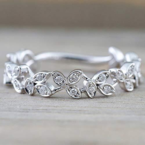Slendima Exquisite Hollow Leaf Design Women Fashion Rhinestone Jewelry Engagement Wedding Ring Silver US 6 by Slendima (Image #4)
