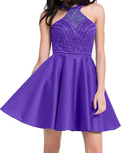 Blau Damen Cocktailkleider Ballkleider mit Abendkleider Mini Royal Kurzes Charmant Promkleider Pelren Lila 8ZxEx