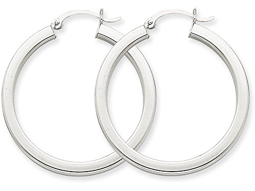 Polished Square Earrings - Finejewelers 14k White Gold 3mm Polished Square Tube Hoop Earrings
