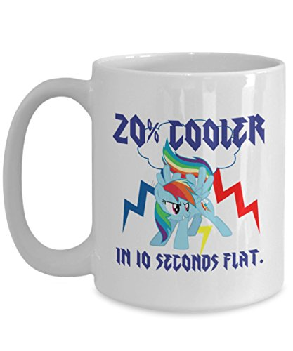 20 Percent Cooler in 10 Seconds Flat My Little Pony Coffee or Tea MugGreat Gift for Brony or Pegasister, Lover of MLP or Equestria Girls, MLP Cup Gift for Adults, Twilight Sparkle, Rainbow Dash -