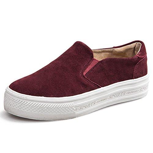 Zapatos Mujer Primavera/Leopard perezoso Lok Fu shoes/Chicas de zapatos de suela gruesa/Zapato del plano/Chica de recreo zapato pastel B
