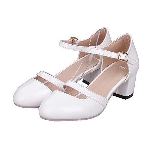 Chaussures Correct AalarDom Blanc Unie TSFDH005699 Boucle Légeres Couleur à Femme Talon xrXqHX0Pw