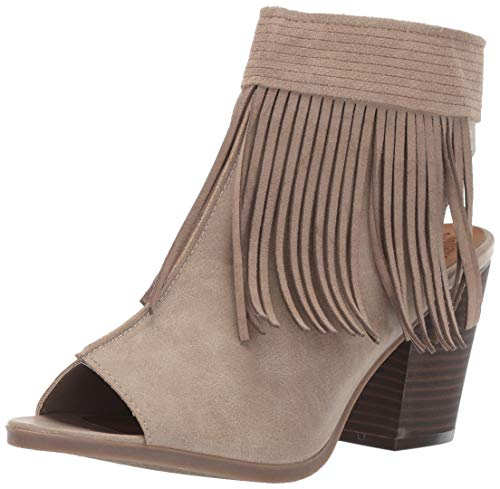 Sugar Women's Valera Peep-Toe Open Back Block Heel Fringe Ankle Bootie Boot, Natural 7.5 M US