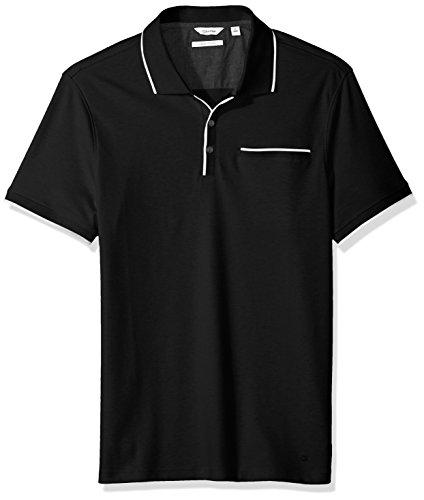 Calvin Klein Men's Short Sleeve Polo With Tipped Collar, Black, (Calvin Collar)