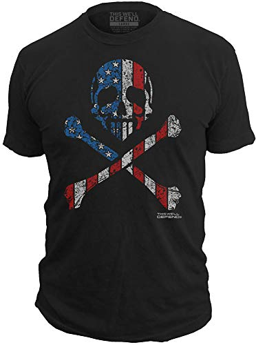 This We'll Defend - American Flag Skull - Mens T-Shirt - Made of USA - 52/48 Premium Vintage T Shirts for Men, Black (X-Large) ()