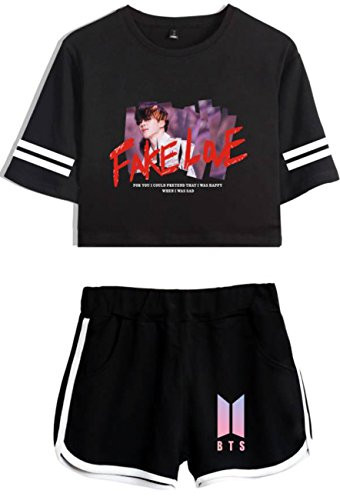 SERAPHY Bangtan Boys Clothes Crop Top T-Shirts and ShortsSuit for Girls and Women 8140 Black-Black S