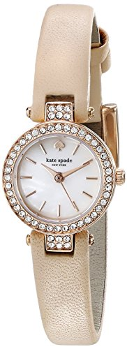 kate spade new york Women's 1YRU0719 Tiny Metro Crystal-Accented Gold-Tone Watch with Beige Leather Band